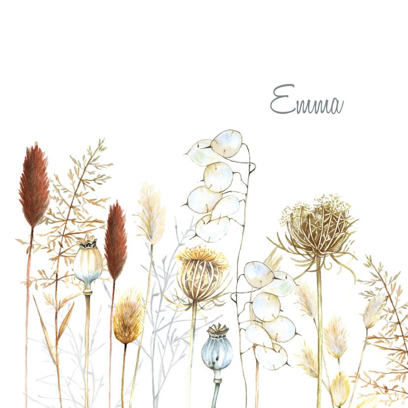 Rouwkaarten - Rouwkaart droogbloemen