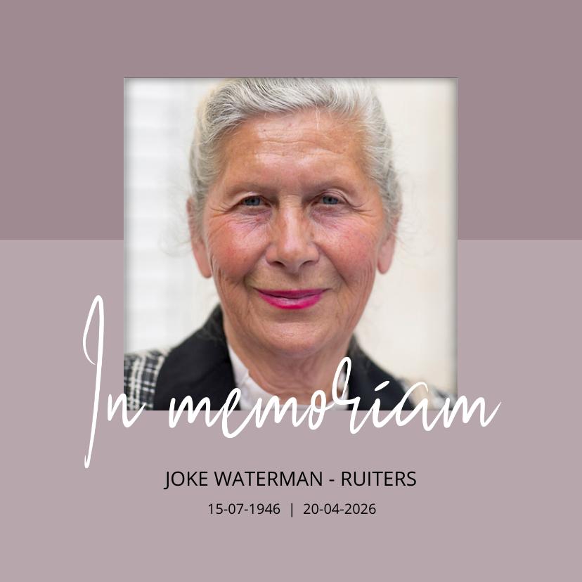 Rouwkaarten - Rouwkaart In memoriam met foto
