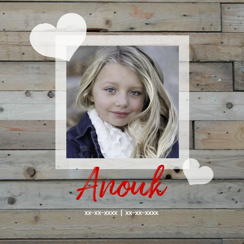 Rouwkaarten - rouwkaart kind hout