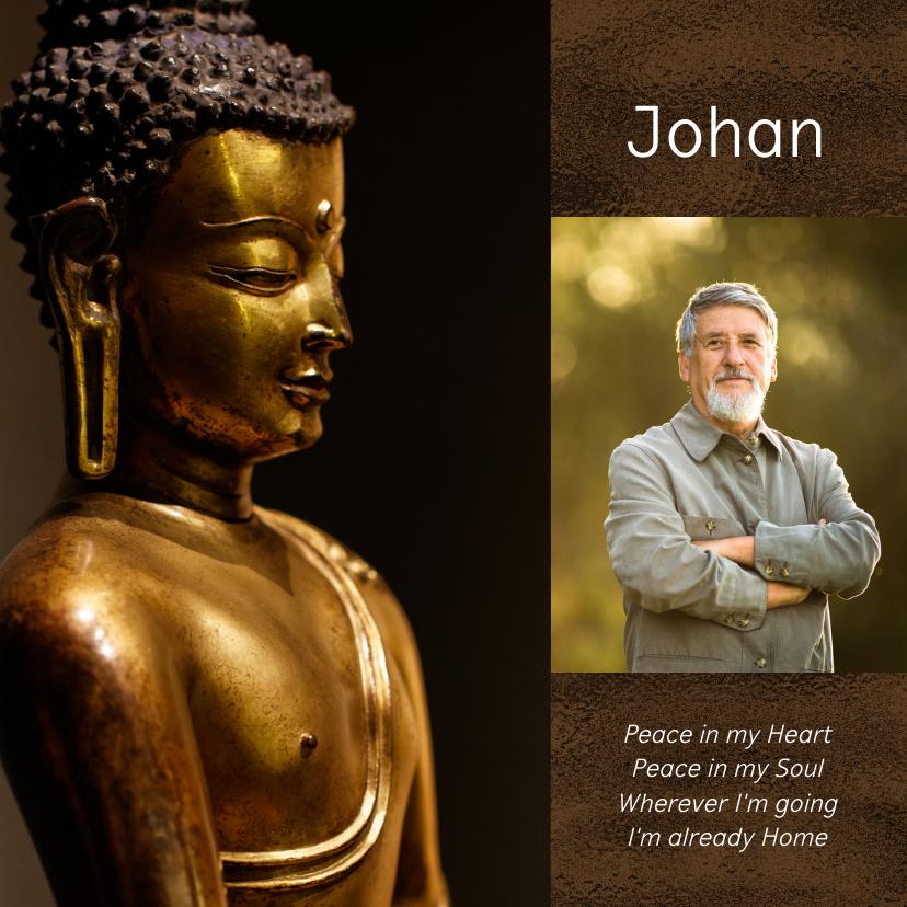 Rouwkaarten - Rouwkaart met gouden Buddha en eigen foto