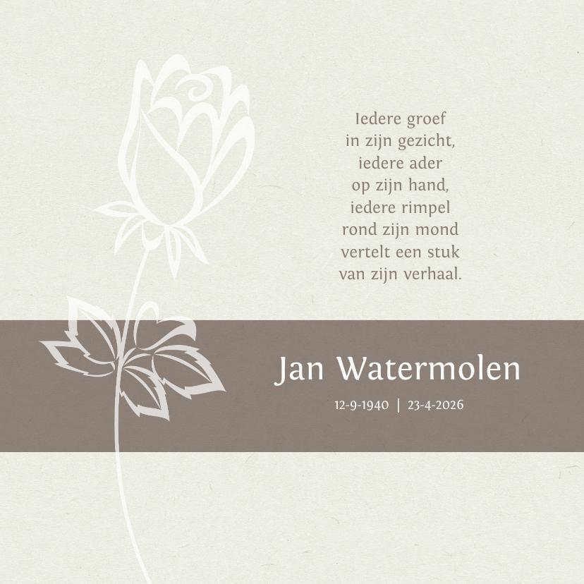 Rouwkaarten - Rouwkaart met silhouet van roos en gedicht