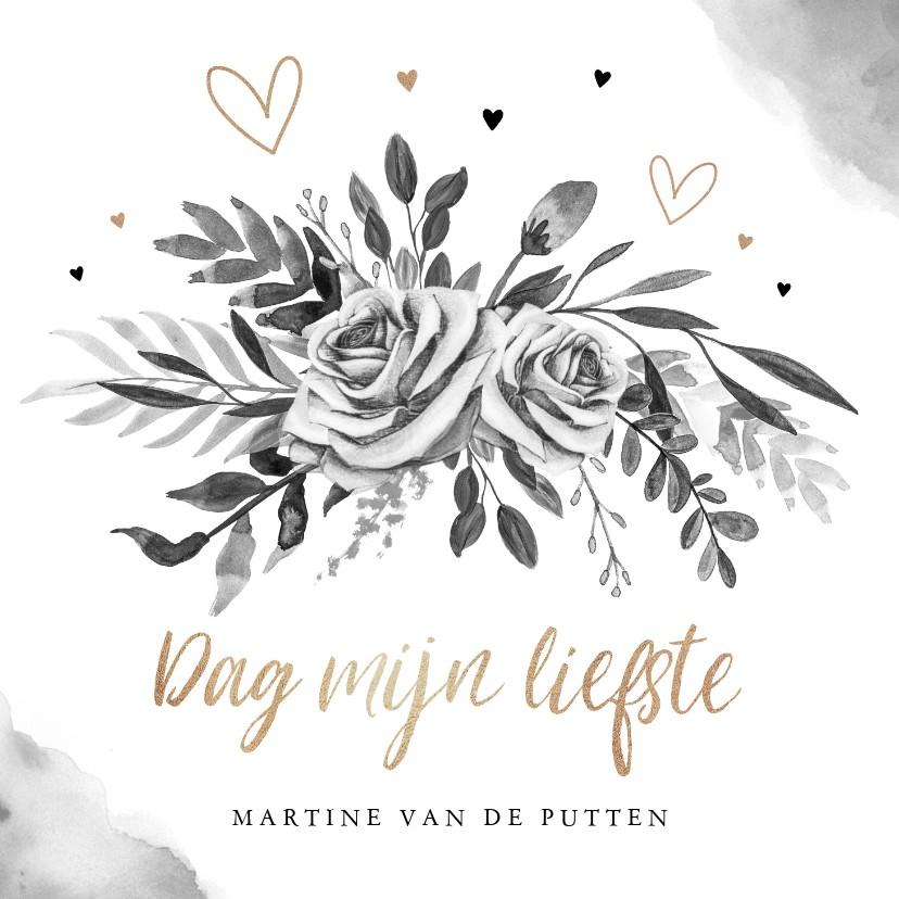 Rouwkaarten - Rouwkaart stijlvol goudlook zwart wit bloemen hartjes