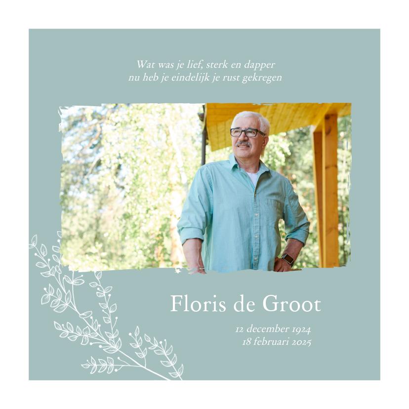 Rouwkaarten - Rouwkaart - stijlvol met foto en bloemen