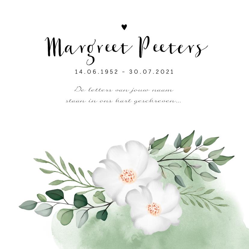 Rouwkaarten - Rouwkaart stijlvol waterverf met bloemen