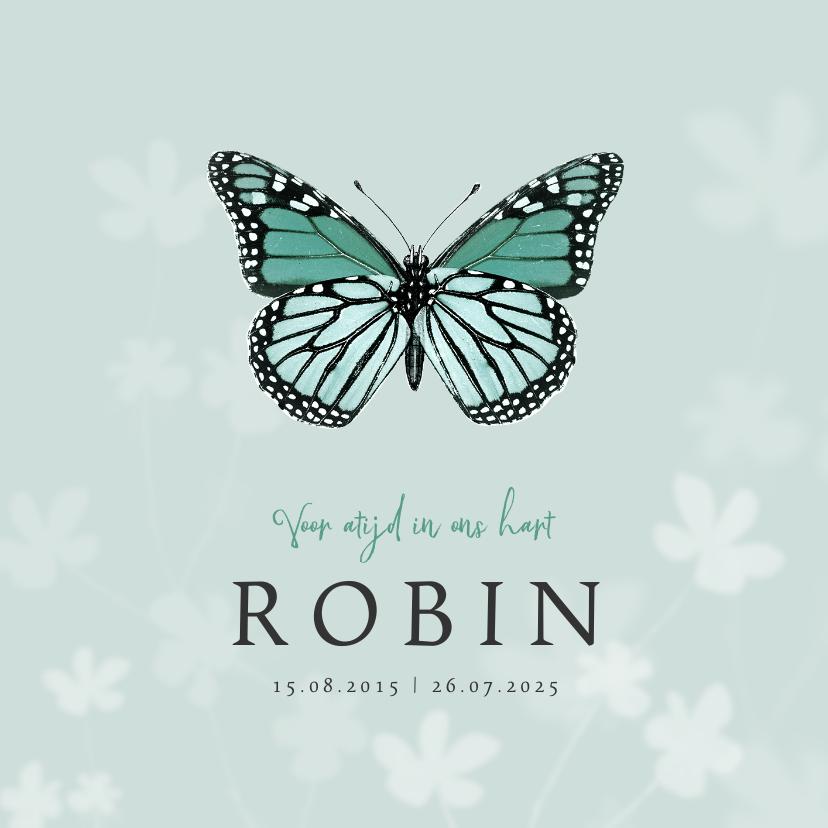 Rouwkaarten - Rouwkaart vlinder stijlvol bloemen kind jongen meisje
