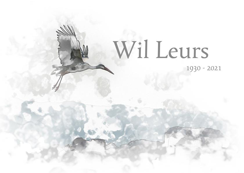 Rouwkaarten - Rouwkaart vogel boven landschap in waterverf