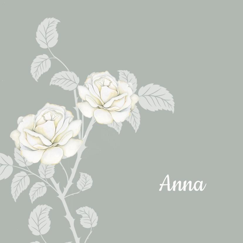 Rouwkaarten - Rouwkaart witte rozen