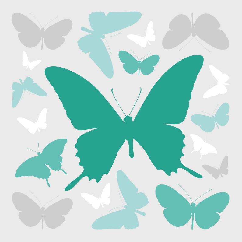 Rouwkaarten - Vlinders grijs en groen