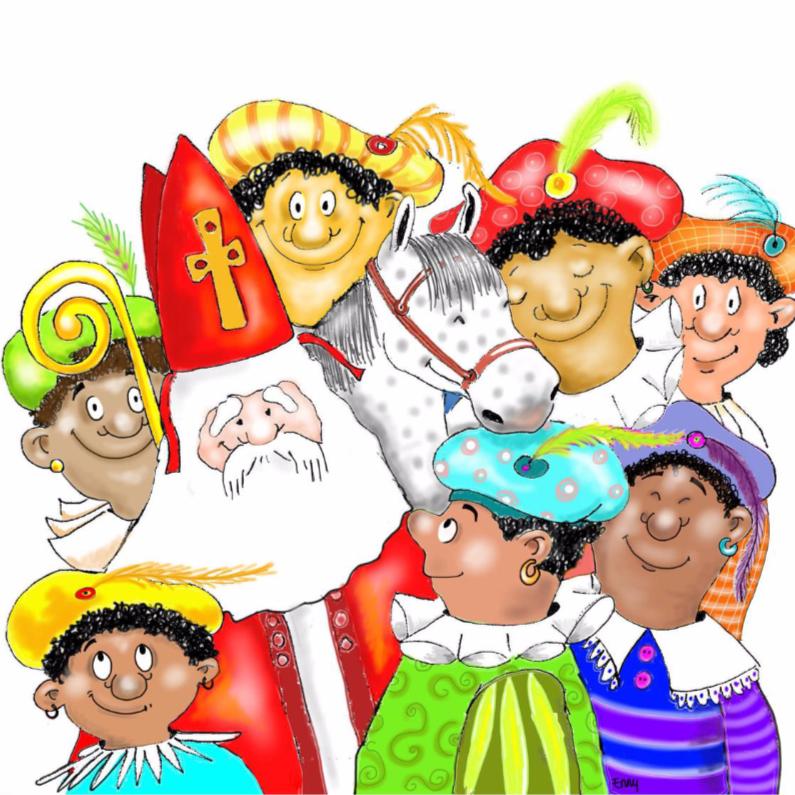 Sinterklaaskaarten - Groep pieten met Sint en Amerigo