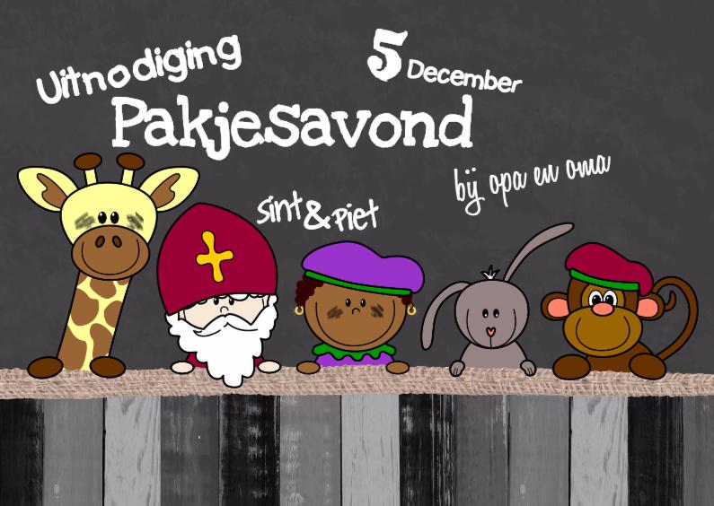 Sinterklaaskaarten - Sint krijtbord dieren