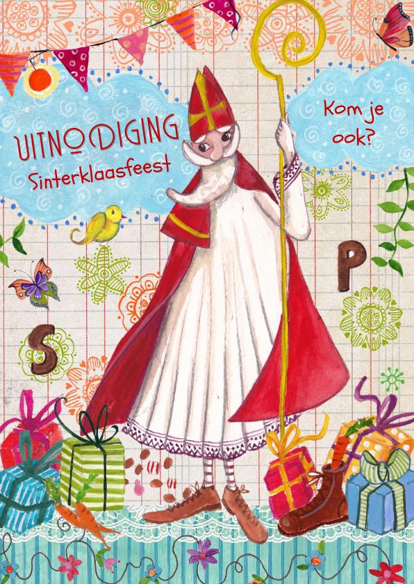 Sinterklaaskaarten - Sint uitnodiging pakjesavond Illustratie