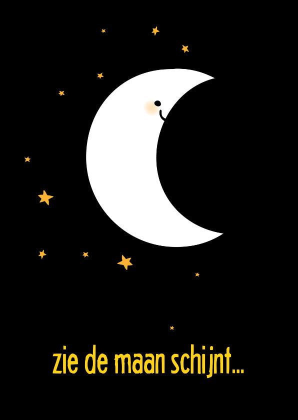 Sinterklaaskaarten - Sinteklaaskaart zie de maan schijnt