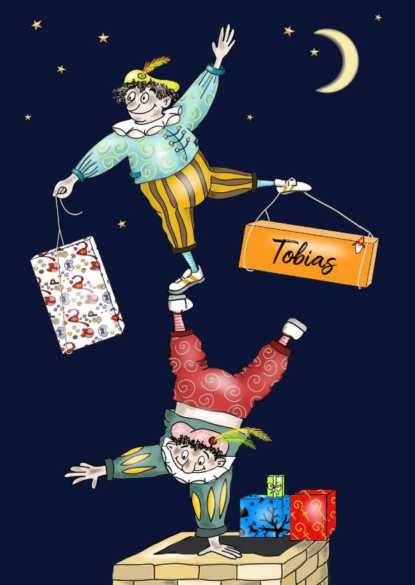 Sinterklaaskaarten - Sinterklaas - acrobaten pieten op de schoorsteen