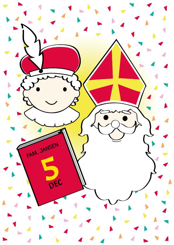Sinterklaaskaarten - Sinterklaas en  Piet met het grote boek en eigen naam