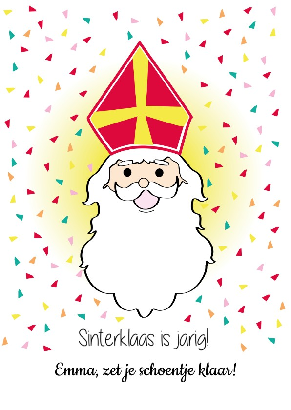 Sinterklaaskaarten - Sinterklaas is jarig, vrolijke feest kaart
