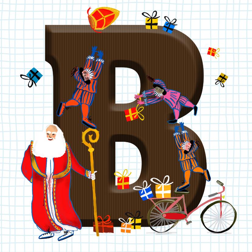 Sinterklaaskaarten - Sinterklaas kaart met chocolade letter B