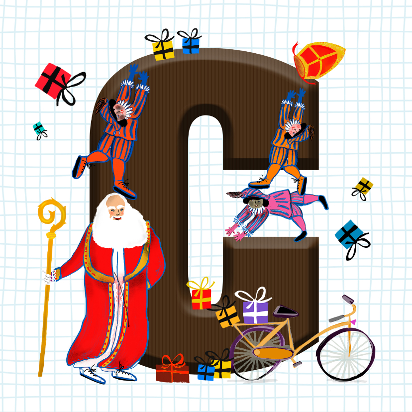 Sinterklaaskaarten - Sinterklaas kaart met chocolade-letter C