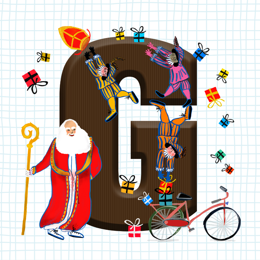 Sinterklaaskaarten - Sinterklaas kaart met chocolade-letter G
