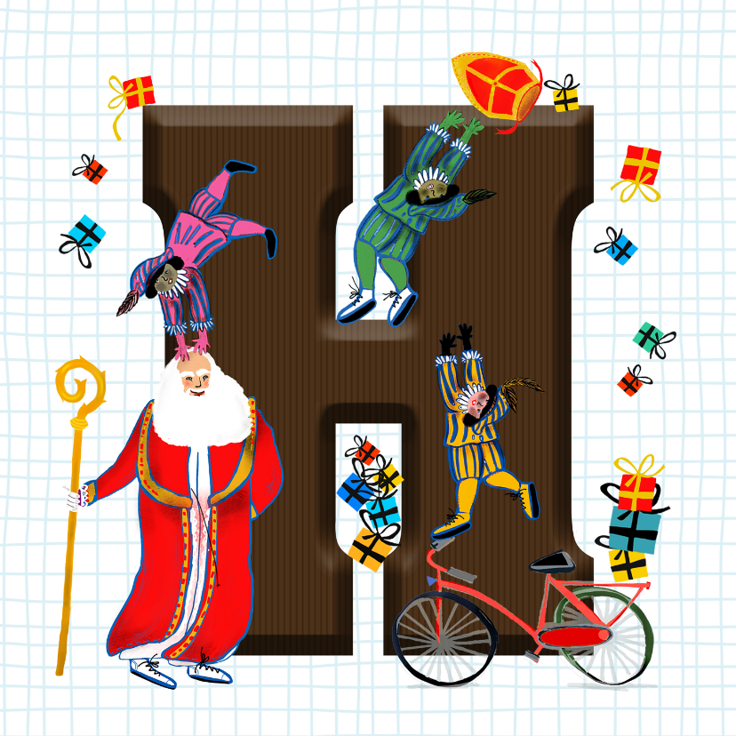 Sinterklaaskaarten - Sinterklaas kaart met chocolade-letter H