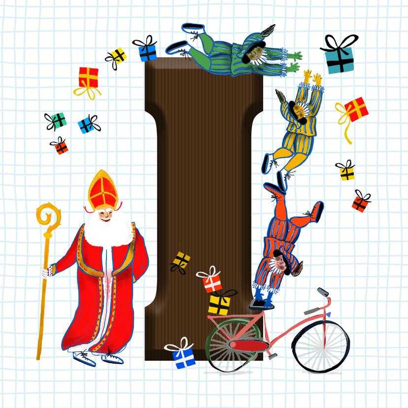Sinterklaaskaarten - Sinterklaas kaart met chocolade-letter I