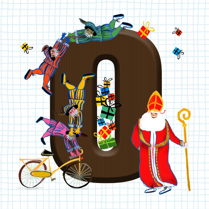 Sinterklaaskaarten - Sinterklaas kaart met chocolade-letter O