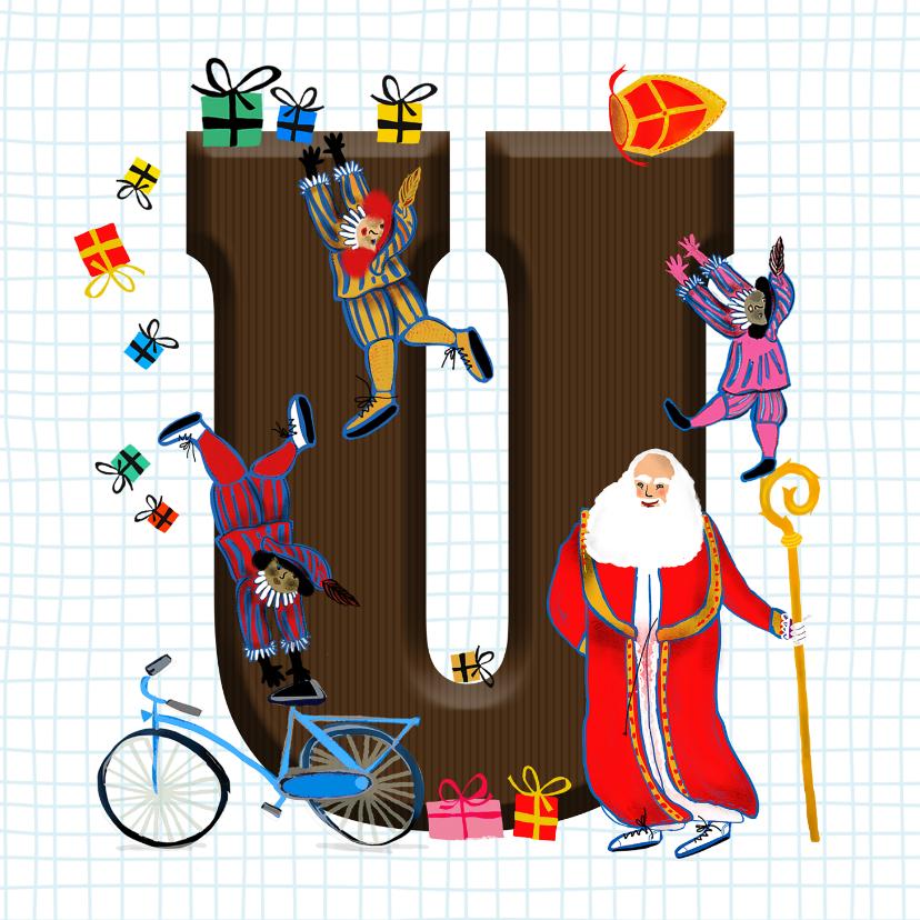 Sinterklaaskaarten - Sinterklaas kaart met chocolade-letter U