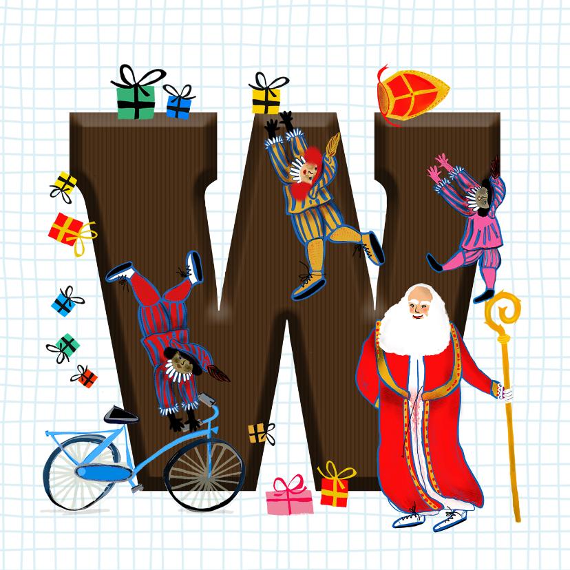 Sinterklaaskaarten - Sinterklaas kaart met chocolade-letter W