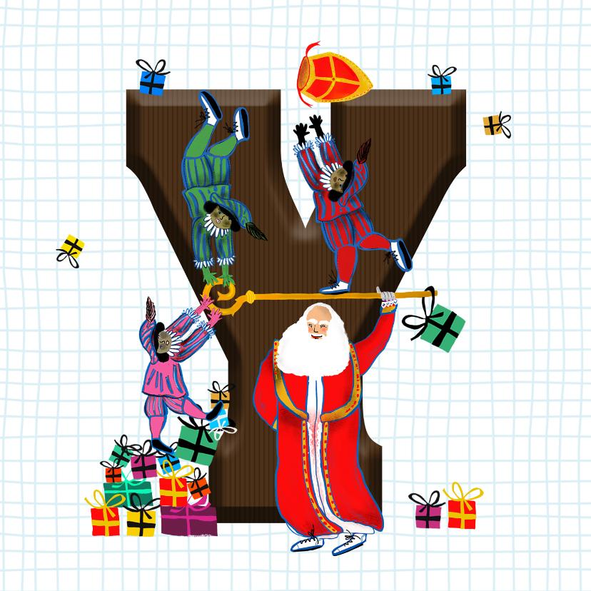 Sinterklaaskaarten - Sinterklaas kaart met chocolade-letter Y