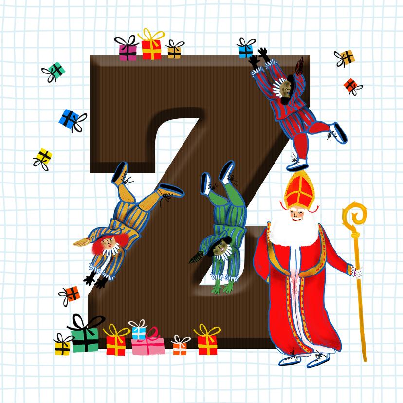 Sinterklaaskaarten - Sinterklaas kaart met chocolade-letter Z