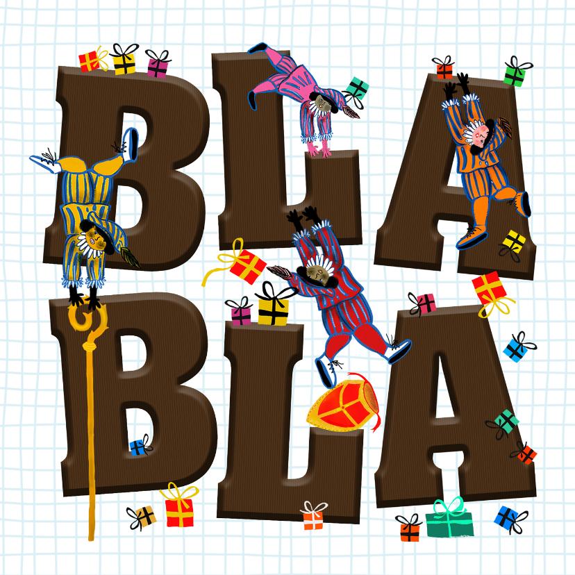 Sinterklaaskaarten - Sinterklaas kaart met letters Bla Bla