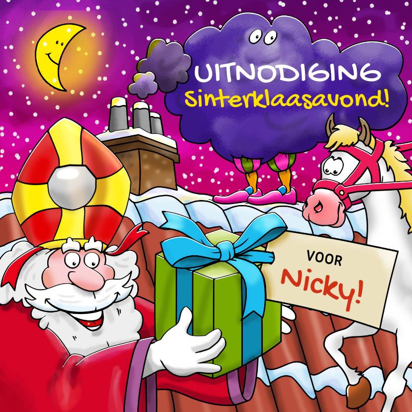 Sinterklaaskaarten - Sinterklaas met paard en Piet in de wolken op het dak