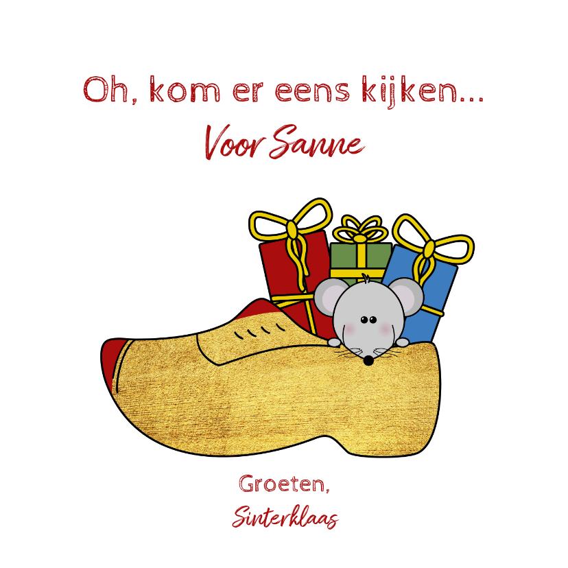 Sinterklaaskaarten - Sinterklaas muisje in een klomp