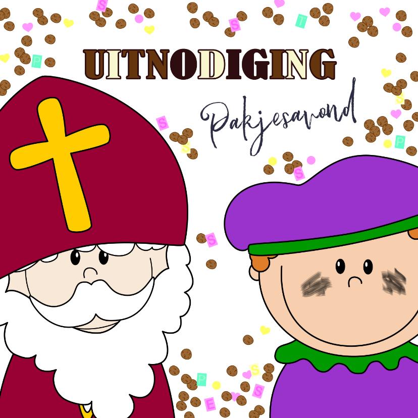 Sinterklaaskaarten - Sinterklaas pakjesavond snoep en chocoladeletters