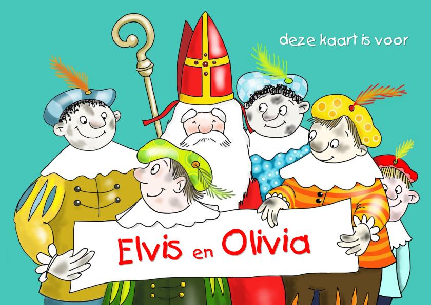 Sinterklaaskaarten - Sinterklaas - Sinterklaas en vijf van zijn roetpieten