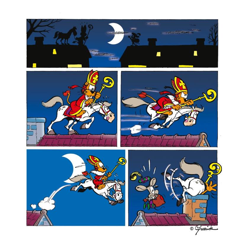 Sinterklaaskaarten - Sinterklaas strip Loeki op het dak - A