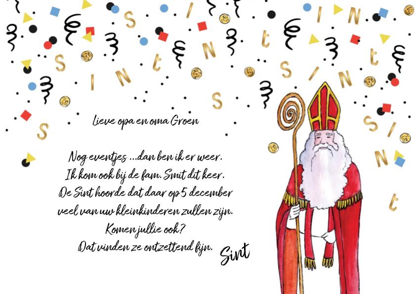 Sinterklaaskaarten - Sinterklaas uitnodiging voor heerlijk avondje