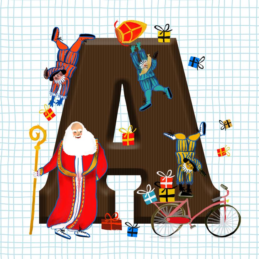 Sinterklaaskaarten - Sinterklaaskaart met letter A