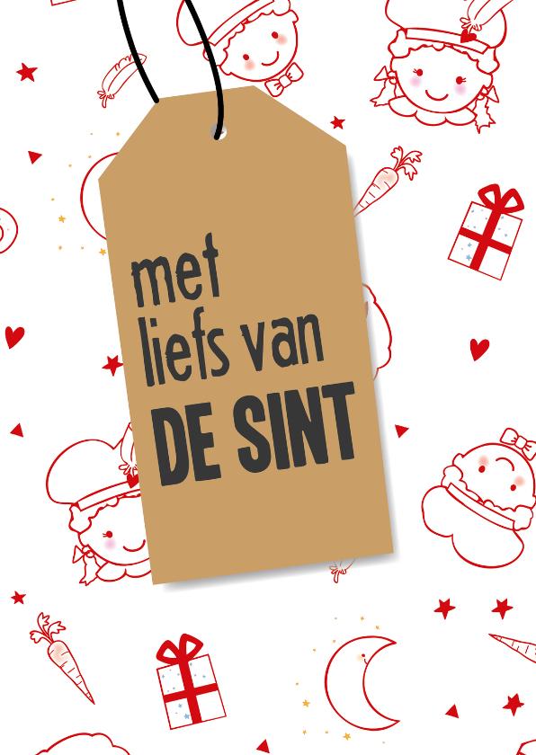 Sinterklaaskaarten - Sinterklaaskaart met liefs van Sint