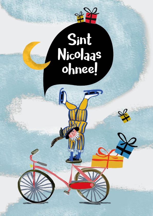 Sinterklaaskaarten - Sinterklaaskaart met stuntende Piet die de kado's verliest