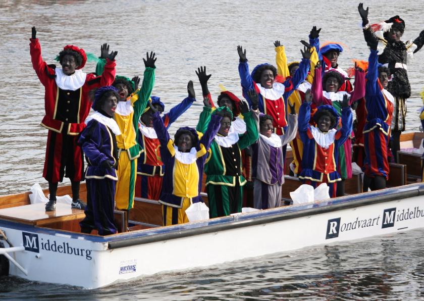 Sinterklaaskaarten - Sinterklaaskaart met zwaaiende pieten