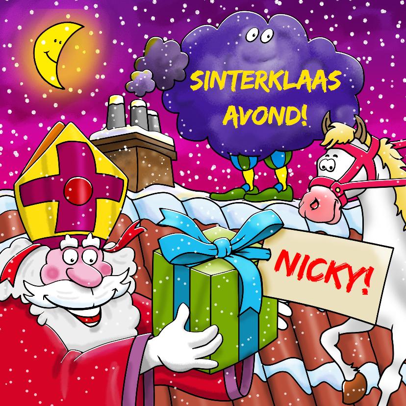 Sinterklaaskaarten - Sinterklaaskaart Sint en Piet op het dak - HE