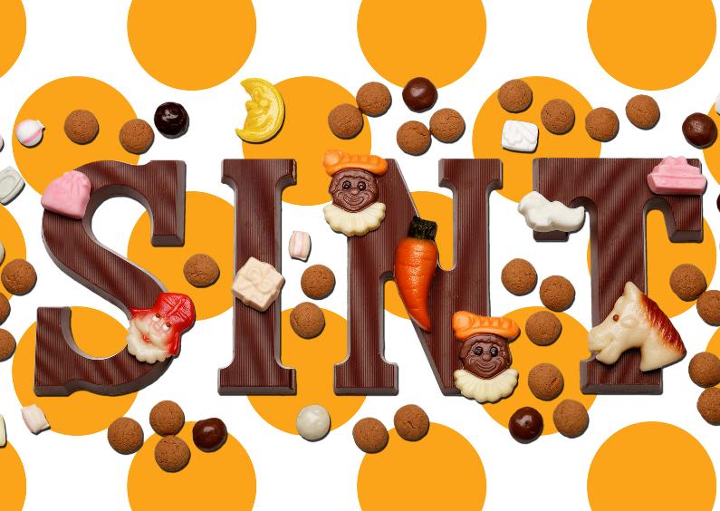 Sinterklaaskaarten - Sinterklaaskaart Sint met oranje stippen - OT
