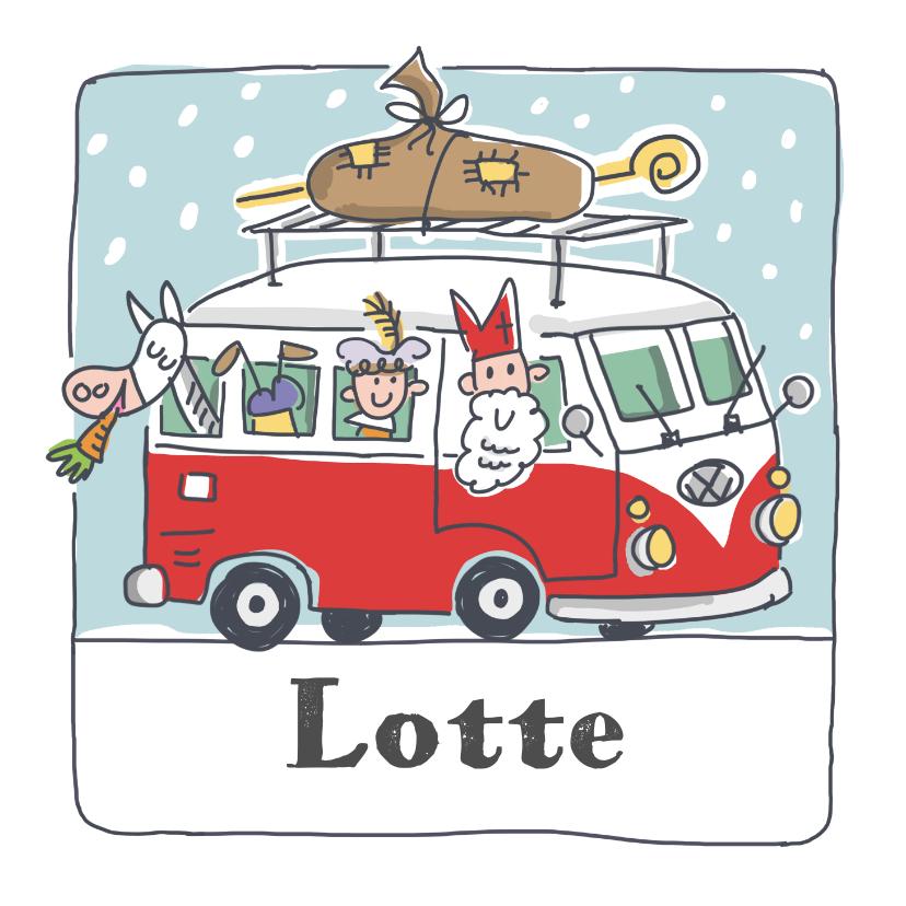 Sinterklaaskaarten - Sinterklaaskaart sint met pieten in volkswagenbusje