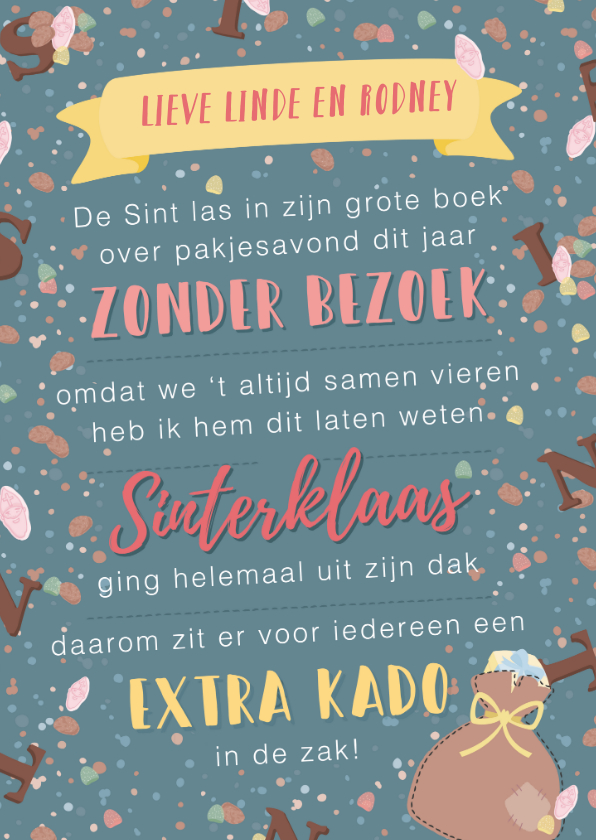 Sinterklaaskaarten - Sinterklaaskaart van oma aan de kleinkinderen met gedicht