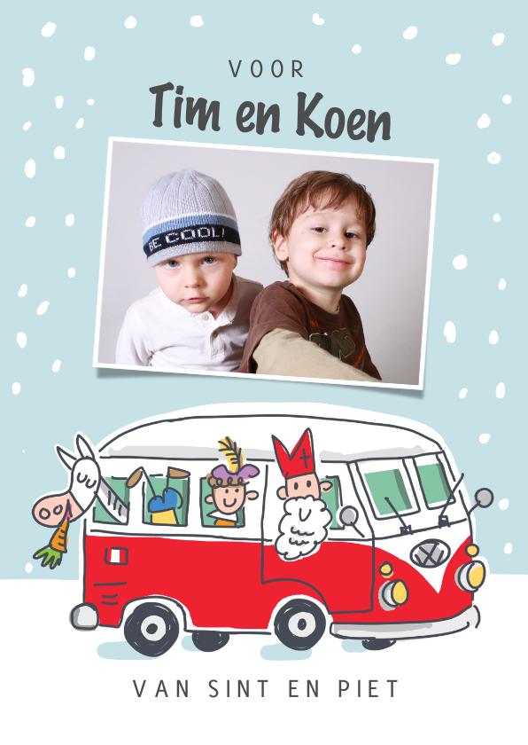 Sinterklaaskaarten - Sinterklaaskaart volkswagenbus met sint en pieten en foto