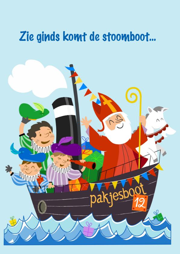 Sinterklaaskaarten - Sinterklaaskaarten - zie ginds komt de stoomboot...