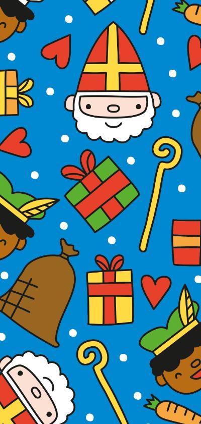 Sinterklaaskaarten - Vrolijk Sinterklaas patroon kaartje