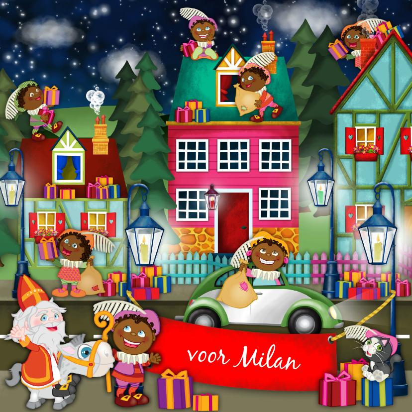 Sinterklaaskaarten - YVON sinterklaas en pieten spandoek vk