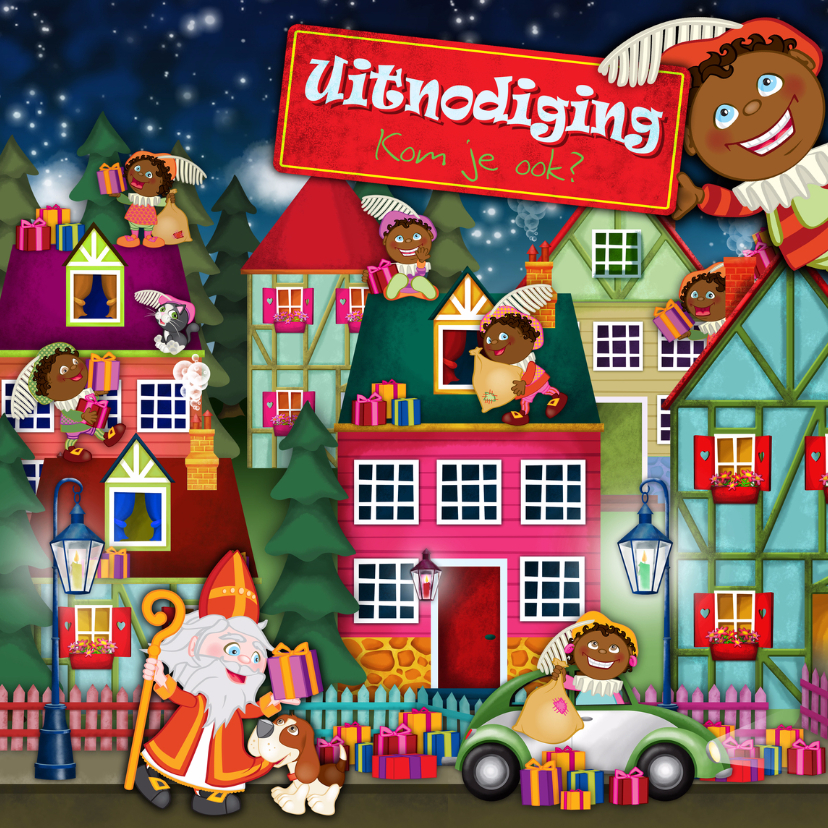 Sinterklaaskaarten - YVON sinterklaas pieten straat vk