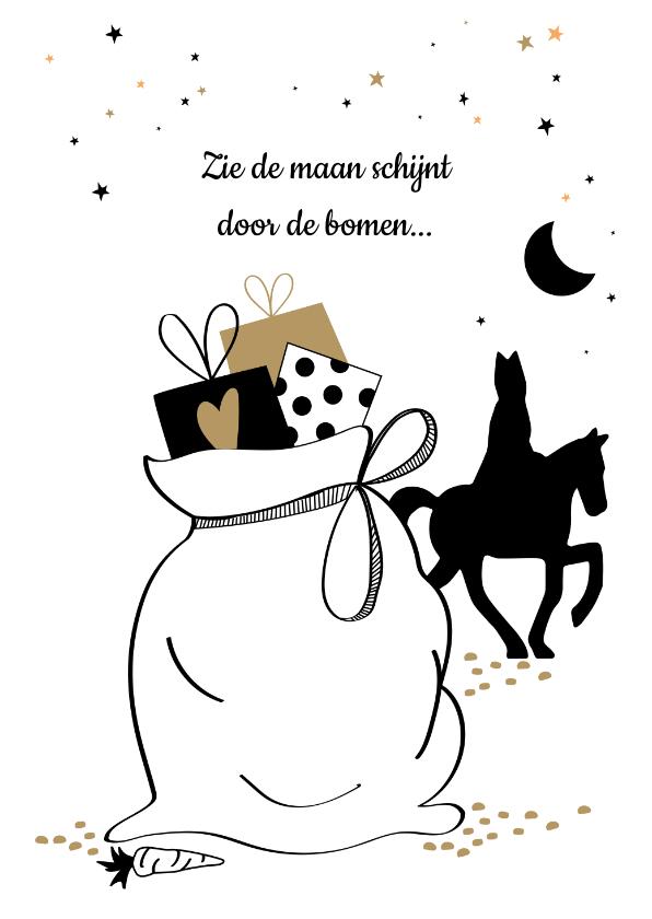 Sinterklaaskaarten - Zie de maan schijnt met een grote zak cadeaus